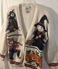 Vintage Empress Halloween Cardigan Sweater Witch Pumpkin White Size Large