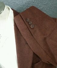 CERRUTI Maroon Herringbone Tweed Blazer Jacket Sport Coat patch Men 44S donegal