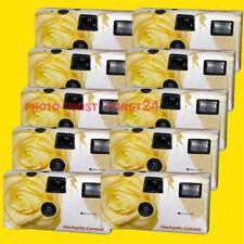 """10 x Hochzeit Einwegkamera """"Gelbe Hochzeits Rose"""" ink. Batterie HB 08/2020 NEU"""