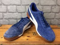 PUMA MENS UK 7 EU 40.5 BLUE WHITE SUEDE TRAINERS RRP £68.00