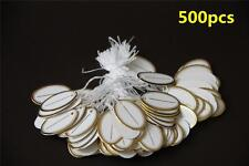 500 White Paper String Tag Tie Golden Border Label Jewellery Watch Display