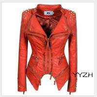 Fashion Women Punk Shoulder Faux Leather Jackets Slim Fit Short Motorcycle Coats
