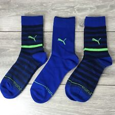 3 x Puma Toe Heel Crew Kids Socks 3 Pairs UK C12 - 1.5 EU 31-34 Blue A571-32