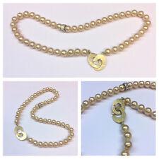 Collana di perle bigiotteria argento sterling 925 chiusura placcato oro