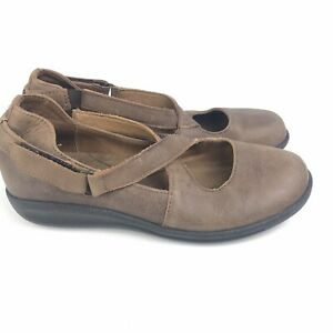 Sanita Brown Leather Mary Jane Shoes Size 37 6.5-7 Comfort Casual