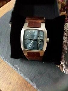 Diesel DZ-1090 Cliffhanger Brown Dial Leather Strap Gents Watch /REF 38