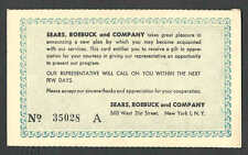DATED 1957 PC NYC SEARS ROEBUCK & CO CLOTHING & DEPT STORE GIFT OFFER