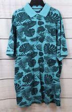 7 Diamonds Men's Lucas Floral Print Polo Shirt Teal Blue