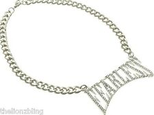 Hip Hop Urban Fashion Silver Chain Necklace & FEARLESS Crystal Bling Pendant