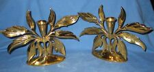 Pair Mid-Century Heavy Brass Flower Candle Holders