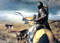 Art Oil painting ancient Chinese General on war horse in Saibei Desert canvas