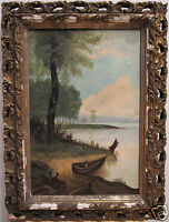 ANTIQUE 19TH AMERICAN FOLK ART SEASIDE SEA OCEAN ROW BOAT SHORE BEACH PAINTING