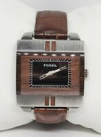 Ladies Fossil All Silver Tone Brown Dial Leather Strap Analog Watch JR9370 B7