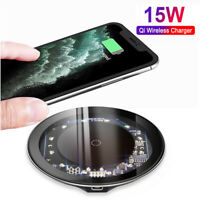 15W QI Wireless Charger For iPhone 11 Pro XS Max Samsung S20+ Fast Charging Pad