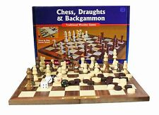Traditional Wooden Games Chess, Draughts, Backgammon 3 in 1 Board