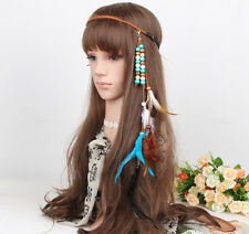 Hot Women Jewelry Handmade Gypsy Rope Wood Beads Feather Hairband Hair Clip