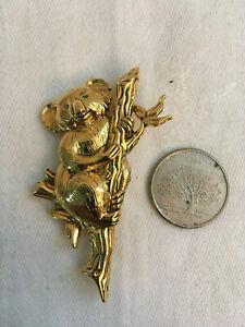 Vintage Goldtone KOALA BEAR Lying on a Branch Green Stone Eyes 38 of 45