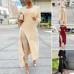 ZANZEA Womens Winter Side Fork Causal Loose Long Sleeve Pullover Jumper Shirt T