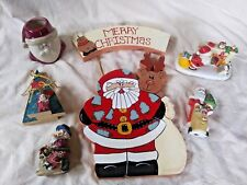 Christmas Holiday Santa Claus Decor 6 Pieces Sign Trees Candle Holders Figures