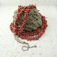"Navajo Red Branch Coral Turquoise Heishi 3 Strand 31"" Sterling Cone Necklace"
