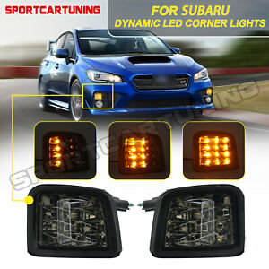 2x Sequential LED Front Turn Signal Light Lamp Smoked For 2015-17 Subaru WRX STI