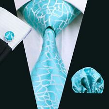 Türkis Silber Schlangenoptik Seide Krawatte Set Einstecktuch Knöpfe Breit K183