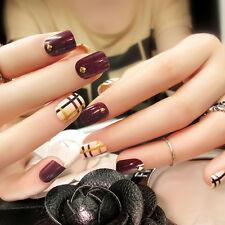 24Pcs False Nails WINE RED Short Full Cover Finger Fake Artficial Nail Art Tips