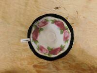 Royal Albert Black with Pink Roses Tea Cup and Saucer - Bone China England