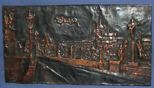 VINTAGE HAND MADE COPPER WALL DECOR PLAQUE CITYSCAPE