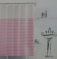 Kate Spade White Pink Harbour Stripe Fabric Shower Curtain 72