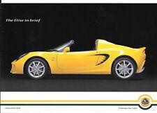 """Lotus Elise (incluyendo precios & More) Venta """"Folleto"""" / Hoja tarde 90's / principios 00's"""