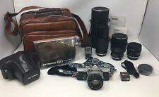Vintage Olympus OM-1 MD  Camera  Lenses Manual Zuiko 50mm 28mm 80-200mm Vivitar
