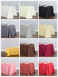 1/10 Pcs 90 x 132 in. Polyester Rectangular Linen Tablecloth Wedding Event Party