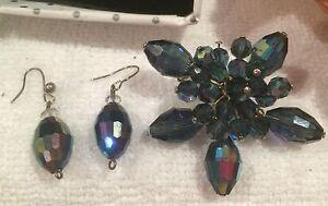 Beautiful Vintage 1960's BLUE CARNIVAL GLASS Brooch & Matching EARRINGS-Pierced