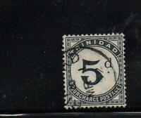 Timbre colonies anglaises : rare timbre Trinidad 5d surcharge postage