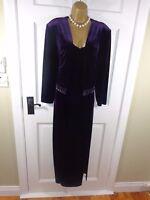 Joseph Ribkoff Purple Velvet Beaded Maxi Dress & Jacket, UK14, Exc Cond REDUCED