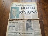 Vintage August 9, 1974 Newspaper section President Nixon Resigns,morning edition
