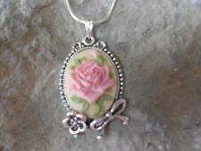 ROSE CAMEO PENDANT NECKLACE (PINK) 925 PLATE CHAIN- BOW, FLOWER, QUALITY!!!
