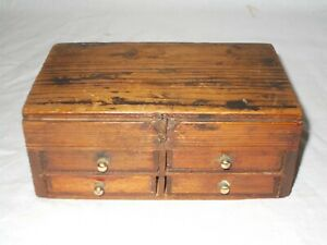 ANTIQUE OAK WATCHMAKERS 4 DRAWER COLLECTORS CABINET WORK BOX FOR SMALL PARTS
