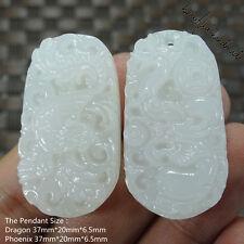 1 pair lovers Couples Dragon Phoenix Natural White Jade Pendants + Necklaces