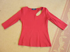 LADIES CUTE RED POLYESTER OPEN 3/4 SLEEVE TOP BY VALLEY GIRL - SIZE 8/10 CHEAP