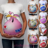 Maternity Cute Funny Pattern Print Short Sleeve Casual T-shirt Pregnant Tops DZ
