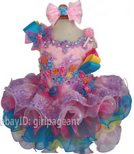 Infant/toddler/baby/Girl Lace Crystals Floral Pageant Gliz Dress 2T G276-2