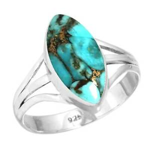 Copper Blue Turquoise Ring 925 Sterling Silver Handmade Jewelry Size T Wm24515