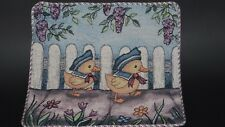 Sailor Ducks Garden Fence Flowers Unfinished Tapestry Craft Fabric Pillow