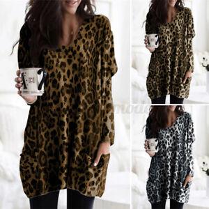 Women's Long Sleeve Leopard T-Shirt Casual Loose Tunic Top Mini Shirt Dress Plus