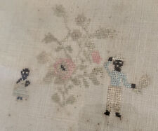 1836 Antique Embroidery Sampler Black Americana Slaves African American Textile