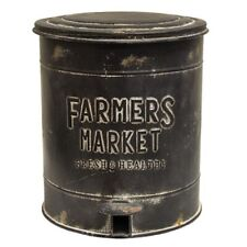 New Primitive Farmhouse Black Farmers Market Trash Can Metal Waste Basket Bin