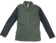 Reformed Womens Military Style Jacket Olive Green Black Leather Sleeves X Small