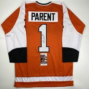 Autographed/Signed BERNIE PARENT Philadelphia Orange Hockey Jersey JSA COA Auto